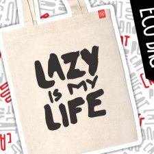 "Mops kot eko eco torba ""Lazy is my life"""