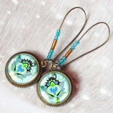 stylowe wiszące ze szkła z grafiką- VINTAGE STYLE BLUE GREEN
