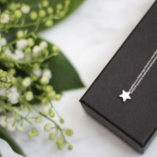 Rhodium Plated Matt Star Necklace