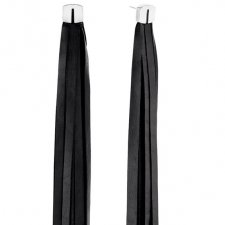 Long Tassel Leather Earrings in Silver