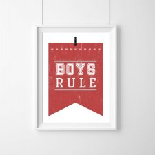 PLAKAT - BOYS RULE |RED |A3