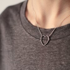 Rhodium Plated Open Heart Necklace