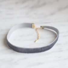 Simple Grey Velvet Choker Necklace