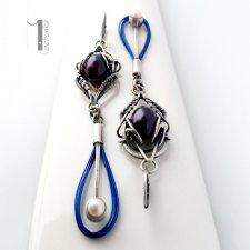 Arachne - fusum - srebrne kolczyki z perłami