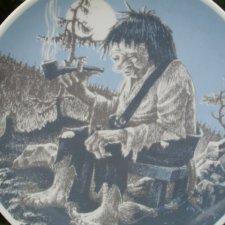 porsgrund norway smoking troll kolekcjonerski talerz porcelanowy rzadko spotykana rzecz