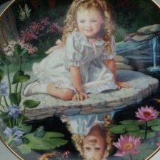 danbury Mint 1991  children of the week -  monday   's  child by elaine gignilliat kolekcjonerski talerz porcelanowy
