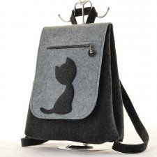 Filcowy Plecak z Kotkiem - Grafit z Szarym