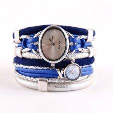 Zegarek- bransoletka granatowo- srebrzysty z dmuchawcem