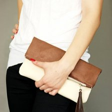 Fold Clutch Brown/Ecru