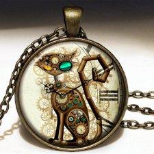 Steampunk'owy kot - duży medalion z łańcuszkiem - Egginegg