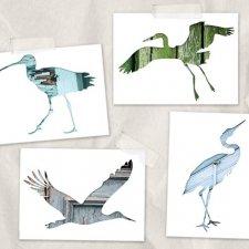 ptaki i architektura - kartki A6