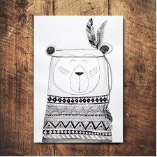 Niedźwiedź - Indianin - obrazek A4