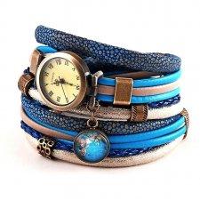 Bransoletka z zegarkiem i zawieszką z globusem