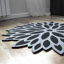 Filcowy dywan aster, szary, okrągły, o śr.79cm