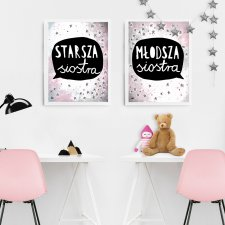 dla sióstr siostry plakaty dla dziewczynek córek gwiazdki komplet