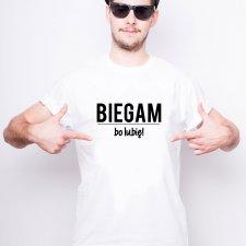 Sportowy T-shirt męski (biały)- BIEGAM BO LUBIĘ