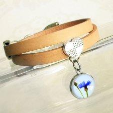 CHABER :: skórzana bransoletka z serduszkiem i zawieszką artystyczną
