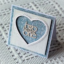 TwoBecomeOne - kartka ślubna w w błękicie i bieli