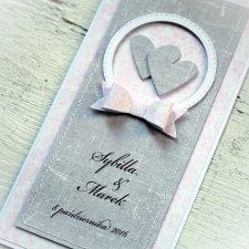 Kartka ślubna personalizowana - szarość i róż