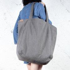 Big Lazy bag torba ciemnoszara na zamek / vegan