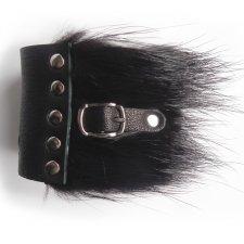 Bransoletka skóra i futro czarna z paseczkiem