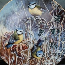 coalport 1993 -  Winter bluetit   - by David Feather -frosty mornings limited edition collection 15,000