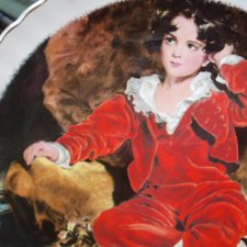 Malarski The Red  Boy - sir thomas lawrence / 1769 - 1830/ James Kent Staffordshire ciekawy rzadko spotykany talerz obraz na porcelanie