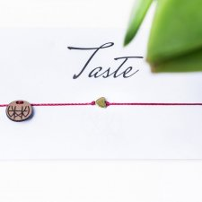 WHW Taste Tiny Heart On Dark Red String