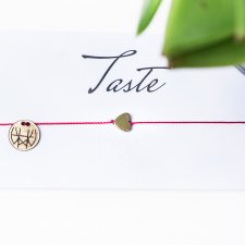 WHW Taste Gold Heart On Red String