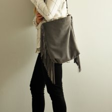 Bucket bag medium Grey fringe