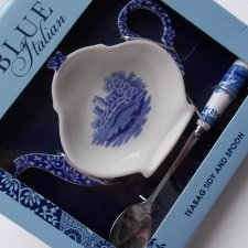spode blue Italian - tea bag tidy and spoon - portmeirion group