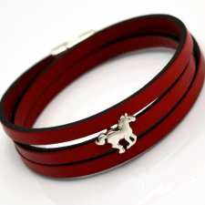 bransoletka skórzana MAGNETOOS triple small HORSE red