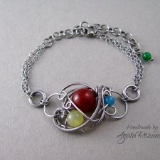 Bransoletka Karneol, Opal, Agat, Awenturyn, wire wrapping, stal chirurgiczna