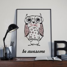 Plakat Sowa be awesome czarnej ramce
