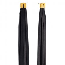 Long Tassel Leather Earrings in Gold