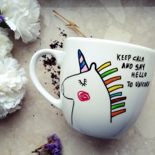 Kubek 400 ml z jednorożcem / keep calm and say hello to unicorn