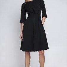 Sukienka z rozkloszowanym dołem, SUK122 czarny