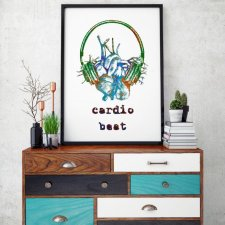Cardio beat_mix blue - plakat autorski 30x40