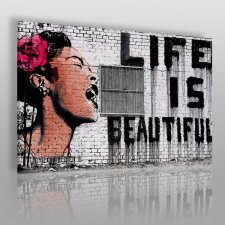 Obraz na płótnie - BANKSY LIFE IS BEAUTIFUL - 120x80 cm (20017)