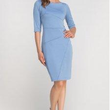 Dopasowana sukienka z przeszyciami, SUK146 błękit