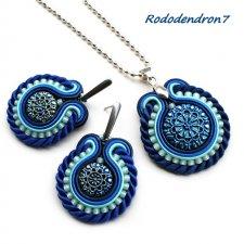 Niebiesko-błękitne Serce Ważki - subtelny komplet wisiorek i kolczyki sutasz soutache