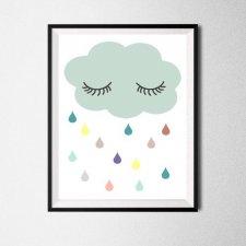 Plakat A4 deszczowa chmurka