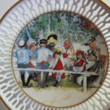 BING & GRØNDAHL -  COPENHAGEN PORCELAIN  DENMARK  - CARL LARSSON -  LUNCH UNDER THE BIRCHTREE - 11802 - kolekcjonerski ażurowy