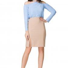 Elegancka spódnica ołówkowa z wysokim stanem T201, beżowy