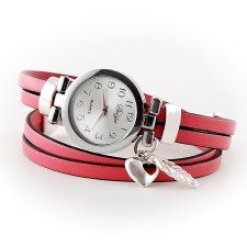 zegarek bransoletka ze skórzanym różowym paskiem