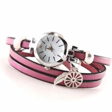 Zegarek- bransoletka, pasek lila, brudny róż