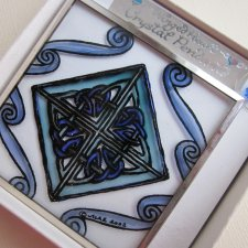 blue diamond - hand painted  glass - winged heart stanie glass -mara and drew - 2002 - is a special symbol for Us.