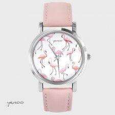 Zegarek - Flamingi - pudrowy róż, skórzany