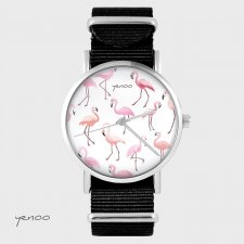 Zegarek - Flamingi - czarny, nato