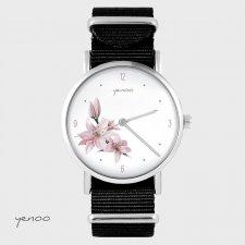 Zegarek - Różowa lilia - czarny, nato